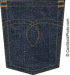 denim pocket - denim back pocket with embroidery seam