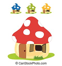 mushroom house vector illustration