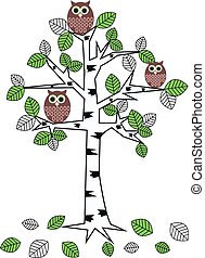owl pattern - three owls sitting in a tree