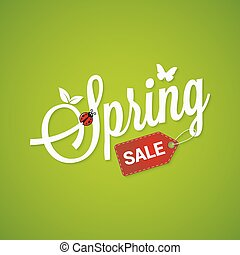 Spring Sale Lettering Design Background. 10 eps