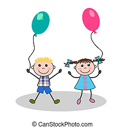 happy kids - two happy kids playing with balloons