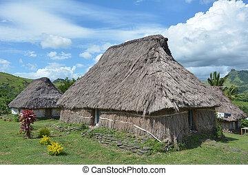 Navala Village Fiji - Fijian bures in Navala village in the...