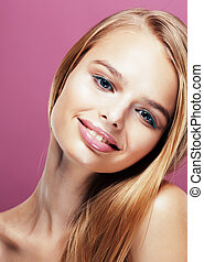 young pretty blonde woman with hairstyle close up and makeup...