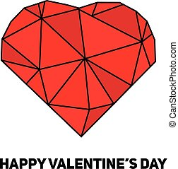 Artistic creative St Valentines day card with red geometric...