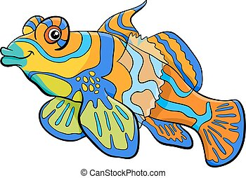 mandarin fish cartoon character - Cartoon Illustration of...