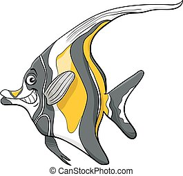 moorish idol fish character - Cartoon Illustration of...