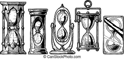 Set of different sandglass. - Set of different hourglass in...