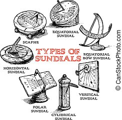 Set of different sundials - Vector hand drawn set of...