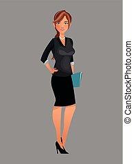 beauty woman working black suit folder file