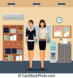 women office work standing cabinet file cooler water bookshelf notice board and window city background