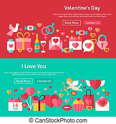 Happy Valentine Day Website Banners. Vector Illustration for...