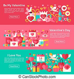 Happy Valentine Day Web Banners. Flat Style Vector...