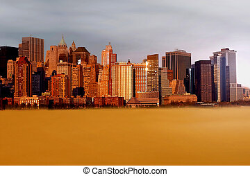 New York in the future - city of New York placed in the...