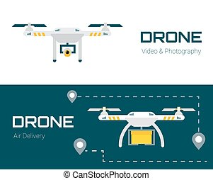 Drone with camera and box. Air Photography, Delivery concept.