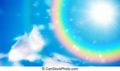 Rainbow sky motion background seamless loop - Clouds revolve...