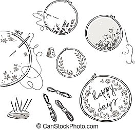 Embroidery set, vector drawing