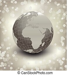 3d earth on abstract silver background. Vector