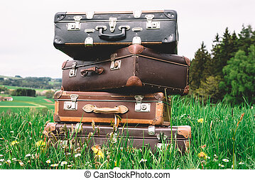 Vintage Pile of Suitcases