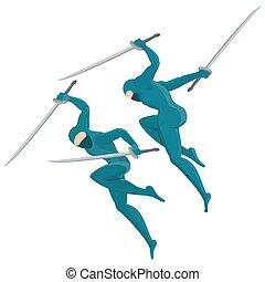 ninja with swords - Figure of ninja. Warrior in battle,...