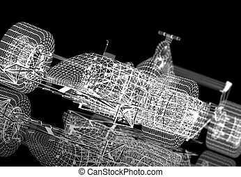 Wireframe formula one - A white formula one wireframe on a...