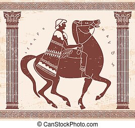 Vector Greek drawing. - Greek style drawing. Soldier in...