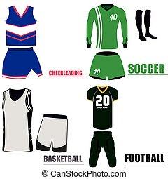 Set of sport uniforms