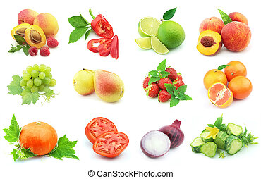Vegetables and fruit - Collage from juicy and ripe...