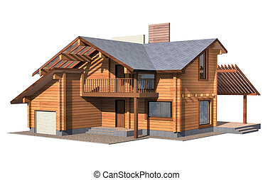 Residential house of wooden timber. 3d model render....