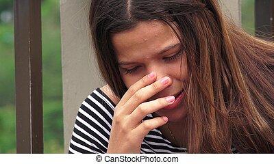coração partido, adolescente, menina, ou, desesperado
