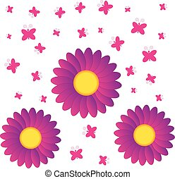 Flowers with butterflies on white background