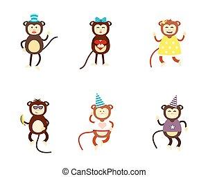 Monkey illustration. - Fun monkey silhouette isolated vector...