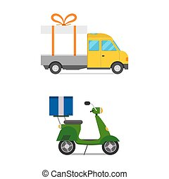 Delivery transport gift box truck and scooter shipping...