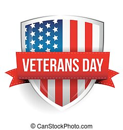 Veterans Day on USA flag shield vector