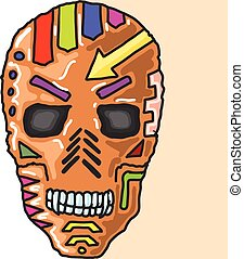 SkullMaskPaintedSketch.eps - Skull Mask Painted Sketch