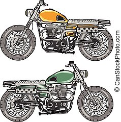 Retro Motorcycle Vector Sketch