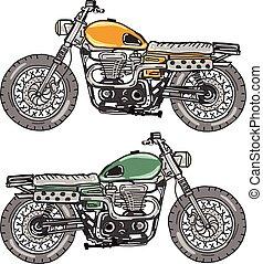 Retro Motorcycle Vector Sketch