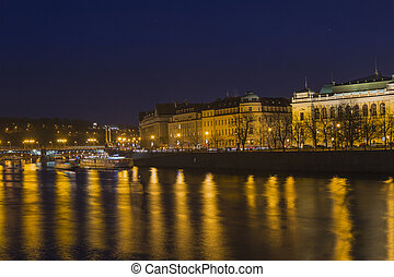 Vitava river in Praga - Vltava river crossing the city of...