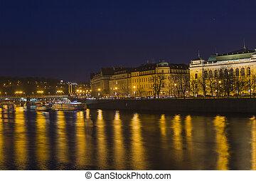 Vitava river in Praga - Vltava river crossing the city of...