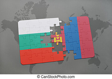 puzzle with the national flag of bulgaria and mongolia on a...