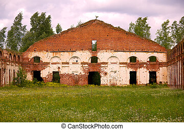 Majestic Ruins of stables and headquarters of hussars of...