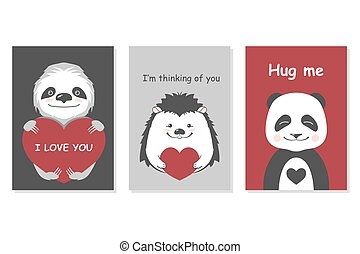 Greeting cards set - cute animals. Vector hand drawn...