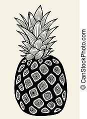 Pineapple vector Illustration - Pineapplefruit. Hand drawn...