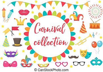 Carnival, party icon set design element. Masquerade, Photo booth in modern flat style. Isolated on white background. Vector illustration, clip art.