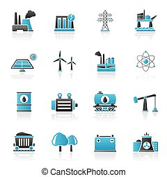 Energy produsing industry and resources icons - vector icon...