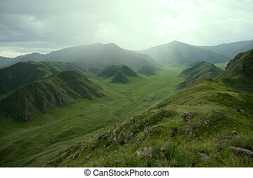 Altai mountains. Typical views of grassland and forest...