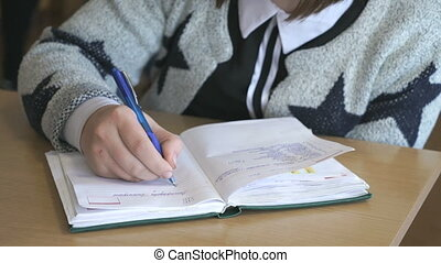 Schoolgirl writes the text in the notebook indoors -...