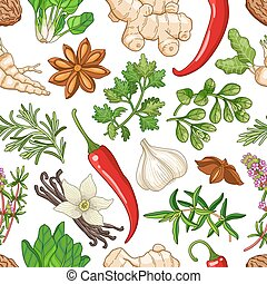 Vector hot pattern with herbs on white - Vector hot seamless...