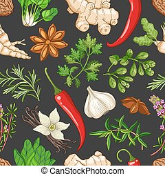 Vector hot pattern with herbs on dark - Vector hot seamless...
