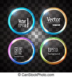 neon banner circle isolated - Round shiny frame background...
