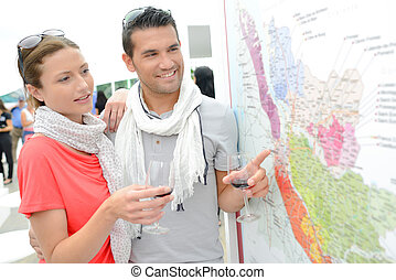 couple with a public map